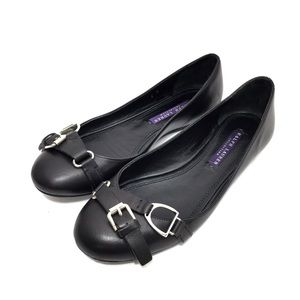 Ralph Lauren Collection Black Leather Ballet Flats